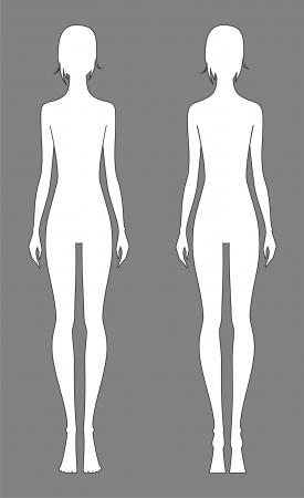 Vector illustration of women s fashion silhouette  Front and back views Vector