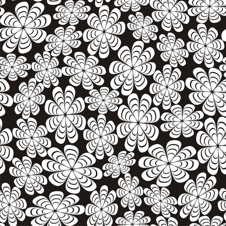multilayer: Vector illustration of seamless black-and-white pattern with abstract flowers Illustration