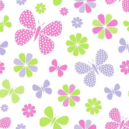 animalitos tiernos: Ilustración vectorial de patrón abstracto sin fisuras con flores y mariposas
