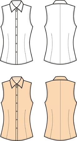Vector illustration of women s blouse  Front and back views Vector
