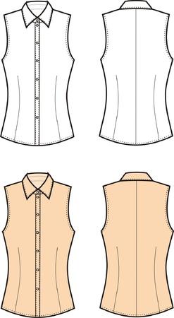 Ilustración vectorial de las mujeres s blusa Vista frontal y posterior