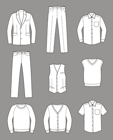 men s: Vector illustration  Set of men s business clothes