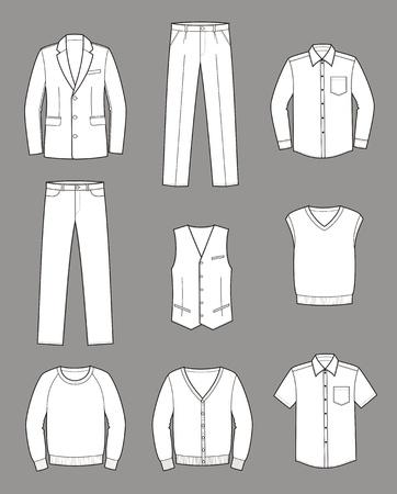 suit jacket: Vector illustration  Set of men s business clothes
