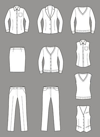 ベクトル イラスト女性のビジネス服の設定