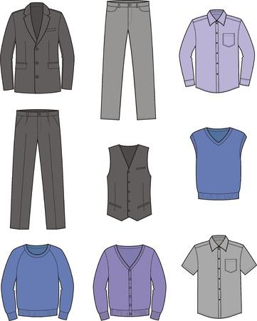 Vector illustratie Set van mannen en zakelijke kleding