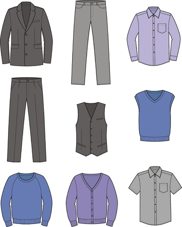 Vector illustration  Set of men s business clothes Stock Vector - 19898784