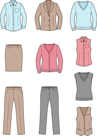 Vector illustratie Set van vrouwen en zakelijke kleding Stock Illustratie
