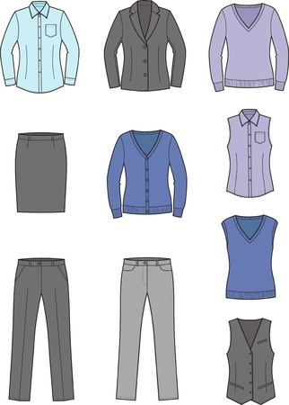 Vector illustration  Set of women s business clothes Stock Vector - 19898786