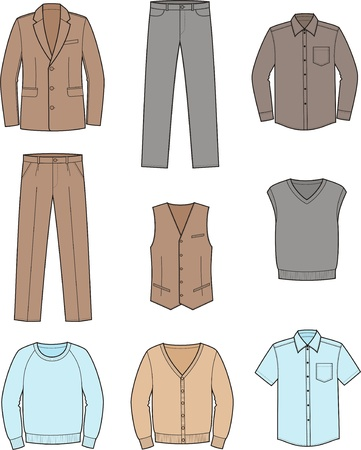 cardigan: Vector illustration  Set of men s business clothes