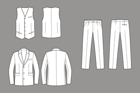 Vector illustration of men s business suit  jacket, vest and pants Stock Vector - 19898783