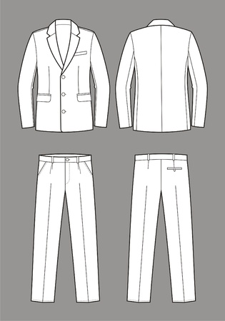 stylish boy: Vector illustration of men s business suit  jacket and pants Illustration