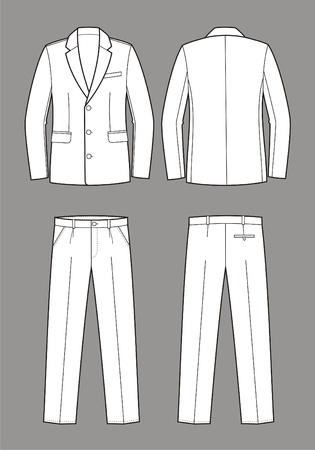 men s: Vector illustration of men s business suit  jacket and pants Illustration
