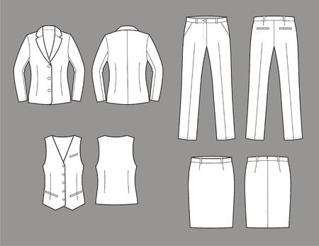 Vector illustratie van vrouwen en pak jas, vest, rok en broek