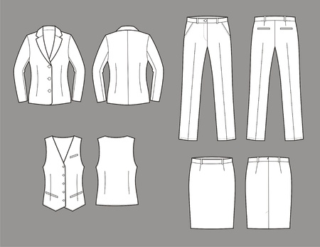 Vector illustration of women s business suit  jacket, vest, skirt and pants Ilustrace