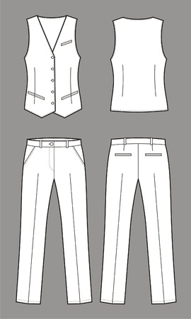 Vector illustration of women s business suit  vest and pants Stock Vector - 19898736