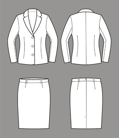 Vector illustratie van vrouwen en pak jas en rok Vector Illustratie