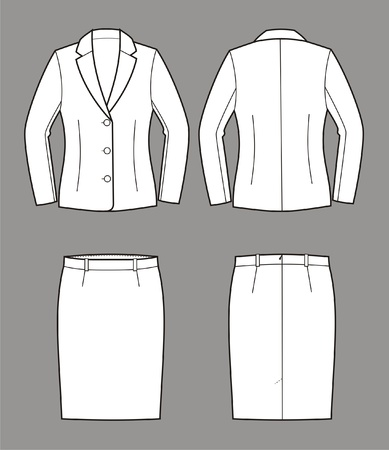 pocket size: Vector illustration of women s business suit  jacket and skirt