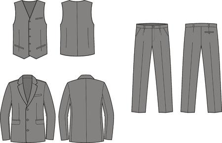 Vector illustration of men s business suit  jacket, vest and pants Stock Vector - 19898780