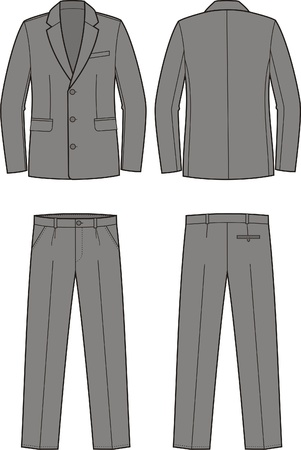 men s: Vector illustration of men s business suit  jacket and pants Illustration