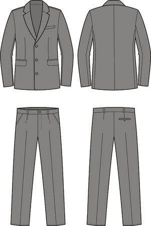 pocket size: Vector illustration of men s business suit  jacket and pants Illustration