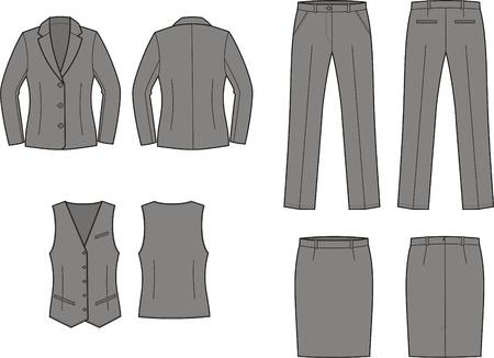 Ilustración vectorial de las mujeres s chaqueta de traje de negocios, chaleco, falda y pantalones Ilustración de vector