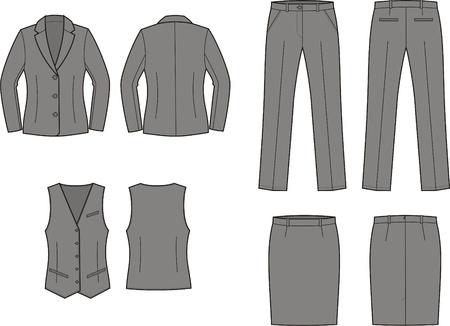 Vector illustration of women s business suit jacket, vest, skirt and pants