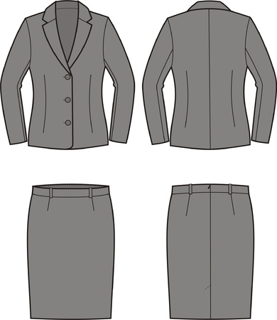 Vector illustration of women s business suit  jacket and skirt Stock Vector - 19890966