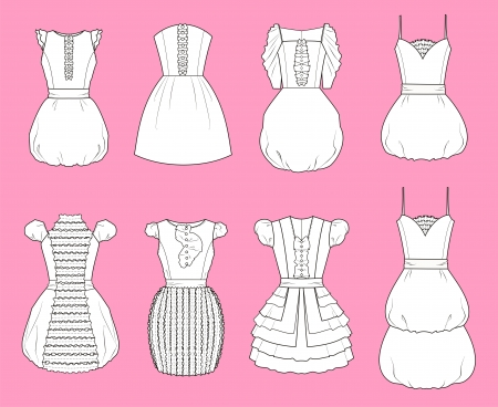 Vector illustration of romantic dresses Vector