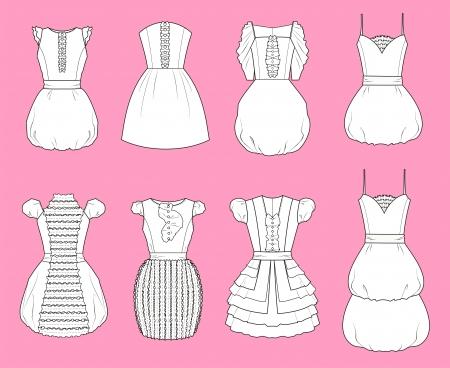 neckline: Vector illustration of romantic dresses