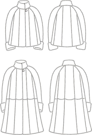 Vector illustration of women s fur coats  Front and back views Stock Vector - 19898788