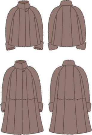 Vector illustration of women s fur coats  Front and back views Stock Vector - 19898789