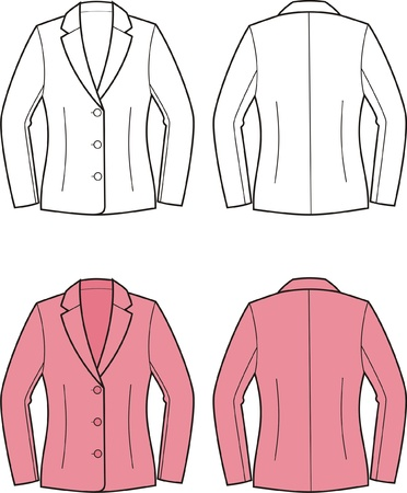 Vector illustration of women s business jacket  Front and back views Vector