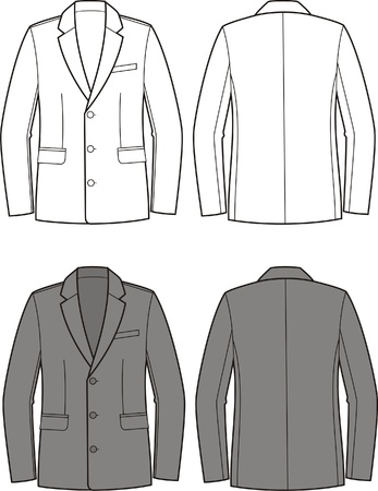 Vector illustration of men s business jacket  Front and back views