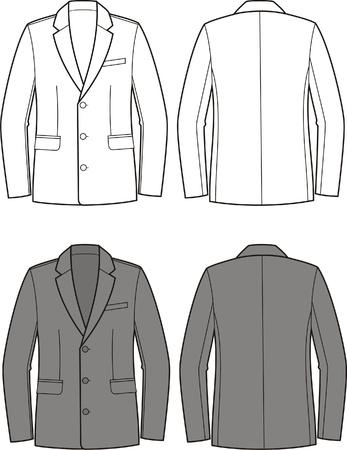 Vector illustratie van mannen en zakelijke jas Voor-en achterzijde uitzicht
