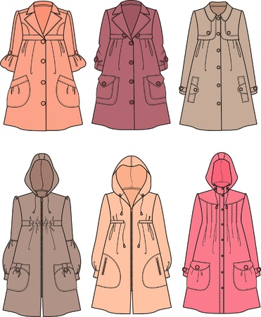 slicker: Vector illustration of women s raincoats