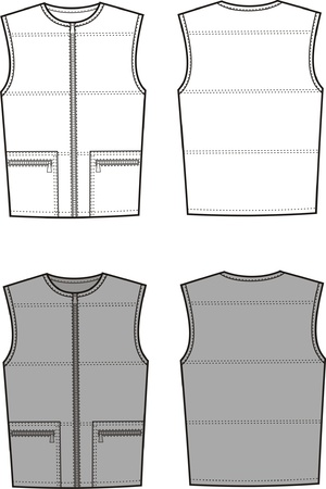 Vector illustration of men s sport waistcoat  Front and back views Vector