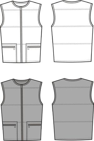 waistcoat: Vector illustration of men s sport waistcoat  Front and back views