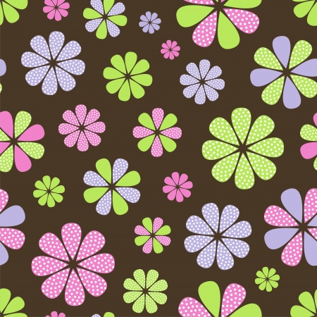 Vector illustration of seamless pattern with abstract flowers Vector