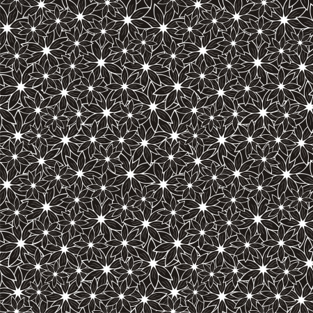 Vector illustration of seamless black-and-white pattern with abstract flowers Vettoriali