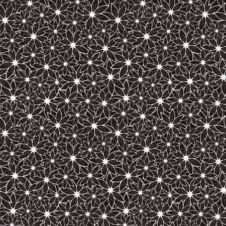 Vector illustratie van naadloze zwart-wit patroon met abstracte bloemen
