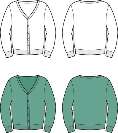 illustration of men s cardigan  Front and back views Illustration