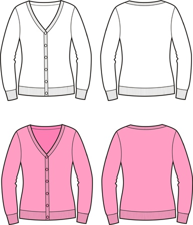 illustration of women s cardigan  Front and back views Vector