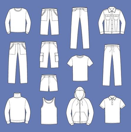 t shirt model: illustrazione di uomini s vestiti casuali grembiule, jumper, canottiera, maglietta, maglione, giacca, i jeans, pantaloncini, pantaloni Vettoriali