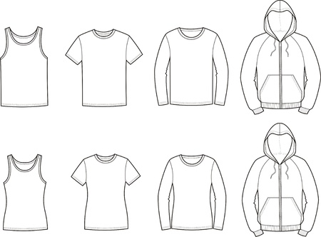 illustration of men s and women s casual clothes  singlet, t-shirt, jumper, smock  Vector
