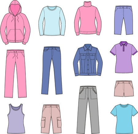 illustration of women s casual clothes  smock, jumper, singlet, t-shirt, sweater, jacket, jeans, shorts, pants Vector