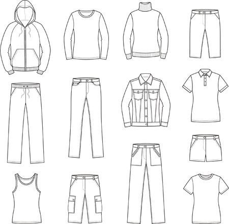 illustratie van vrouwen en casual kleding kiel, trui, hemd, t-shirt, trui, jas, jeans, shorts, broeken Stock Illustratie