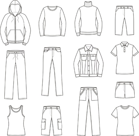 illustration of women s casual clothes  smock, jumper, singlet, t-shirt, sweater, jacket, jeans, shorts, pants Vettoriali