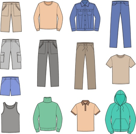 illustration of men s casual clothes  smock, jumper, singlet, t-shirt, sweater, jacket, jeans, shorts, pants Vector