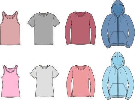 illustration of men s and women s casual clothes  singlet, t-shirt, jumper, smock  Vettoriali