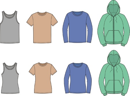 pocket size: illustration of men s and women s casual clothes  singlet, t-shirt, jumper, smock  Illustration